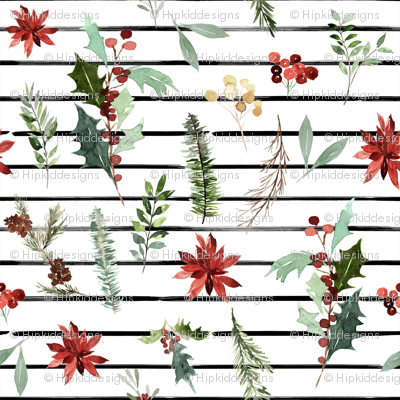"8"" Festive Foliage // Thin Black Stripes"