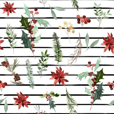 "8"" Festive Foliage // Thin Black Stripes fabric by hipkiddesigns on Spoonflower - custom fabric"