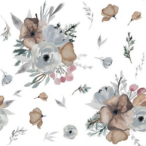 "8"" Winter Floral Blooms // White"