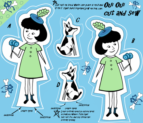 oui oui cut and sew sewindigo fabric by sewindigo on Spoonflower - custom fabric