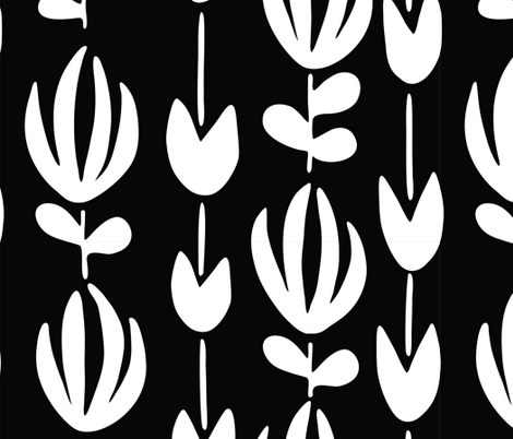 Florals in a Row _black and white fabric by courtney_beyer_design on Spoonflower - custom fabric