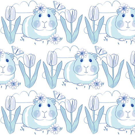 chinoiserie guinea pigs with tulips scene fabric by lilcubby on Spoonflower - custom fabric