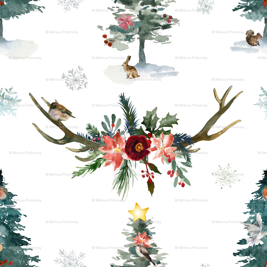 Winter Woodland Holiday Christmas Watercolor wallpaper - theartwerks ...