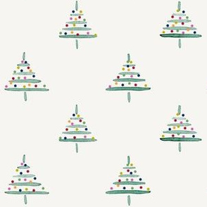 tiny tress decorated Xmas green