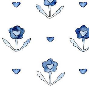 Vintage lovely floral pattern in blue