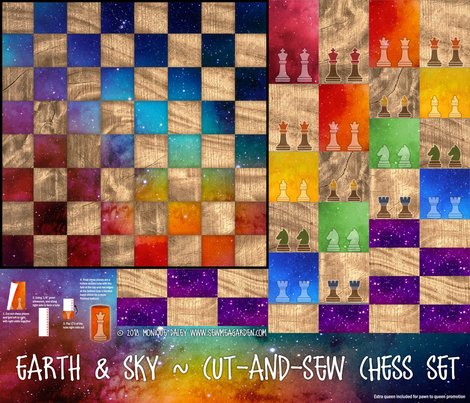 Earth & Sky - Chess Set - Cut-and-sew pattern fabric by sew-me-a-garden on Spoonflower - custom fabric