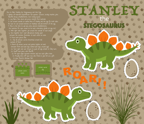 Stanley the Stegosaurus Fat Quarter fabric by peartreetrail on Spoonflower - custom fabric