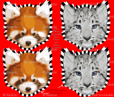 Two Pillows One side Snow Leopard Other side Red Panda by kedoki