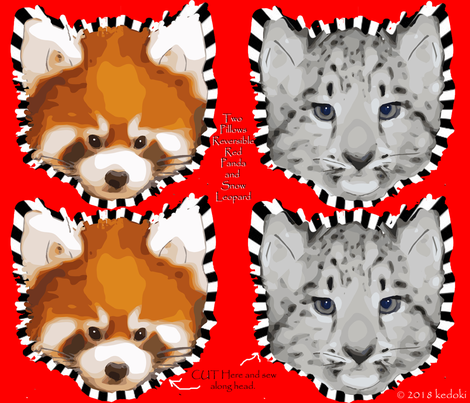 Two Pillows One side Snow Leopard Other side Red Panda by kedoki fabric by kedoki on Spoonflower - custom fabric