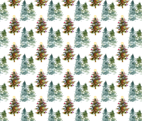 The Loveliest Christmas Tree fabric by theartwerks on Spoonflower - custom fabric