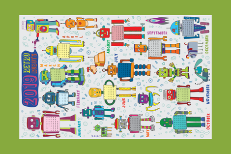 2019 Retro Robots Calendar - Green fabric by cecca on Spoonflower - custom fabric