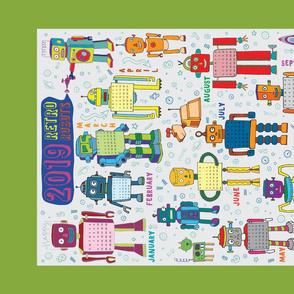 2019 Retro Robots Calendar - Green