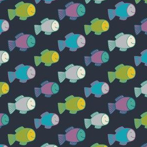 Happy Fish - lime, turquoise, purple and grey on black