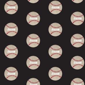 baseball vintage smooth black Large467 FR - PERSONALIZED- Jacob