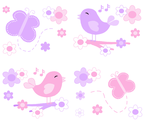 Chickadee Bird Butterfly Floral Purple Lavender Pink LARGE  fabric by decamp_studios on Spoonflower - custom fabric
