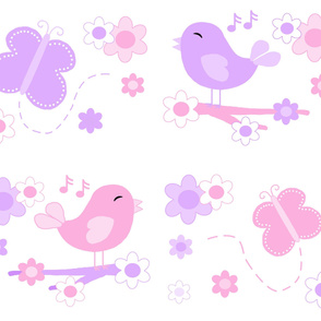 Chickadee Bird Butterfly Floral Purple Lavender Pink LARGE