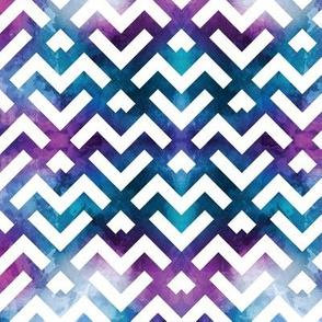 Watercolor Blue Purple Geometric Mountains