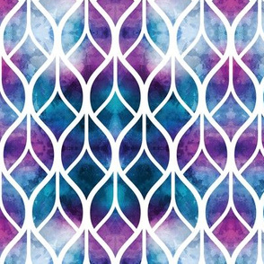 Watercolor Blue Purple Geometric Leaves
