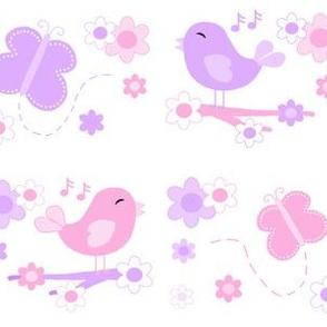 Chickadee Bird Butterfly Floral Purple Lavender Pink