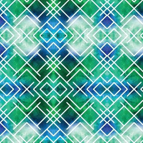Watercolor Blue Green Geometric X Squares