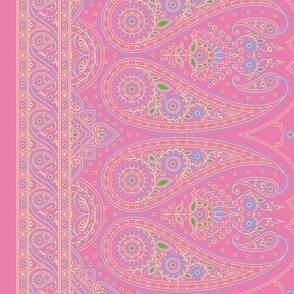 """34"""" Double-Edged Pink Sari Saree"""