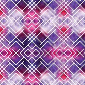 Watercolor Purple Pink Geometric X Squares