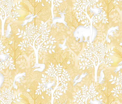 Golden Woodland fabric by j9design on Spoonflower - custom fabric