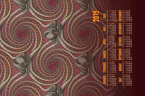★ 2019 : YEAR OF THE KRAKEN ! ★ Tea Towel Calendar -Burgundy Red / Collection : Kraken ' Roll – Steampunk Octopus Print fabric by borderlines on Spoonflower - custom fabric