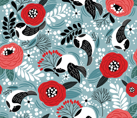 Birds and Berries- Winter fabric by cynthiafrenette on Spoonflower - custom fabric