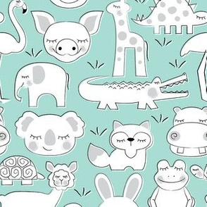 assorted animals on light teal