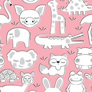 assorted animals on pink