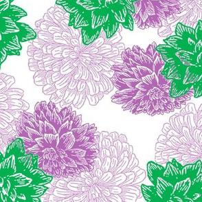 Purple and Green floral (medium)