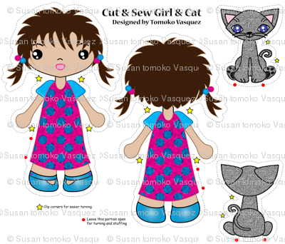 girl with cat cut and sew dolls