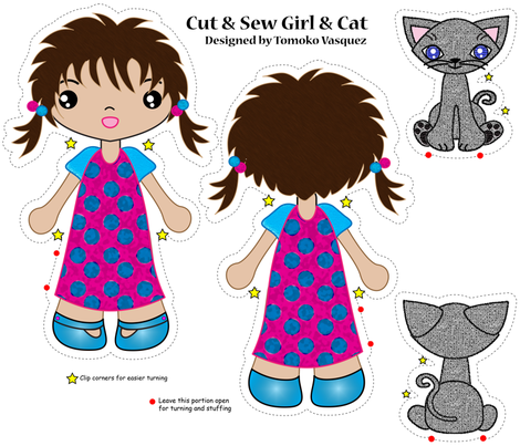 girl with cat cut and sew dolls fabric by tomokosart on Spoonflower - custom fabric