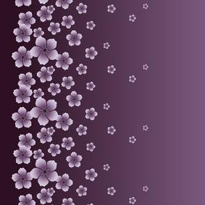 Lilac Raining Blossoms on Dark Purple Ombre