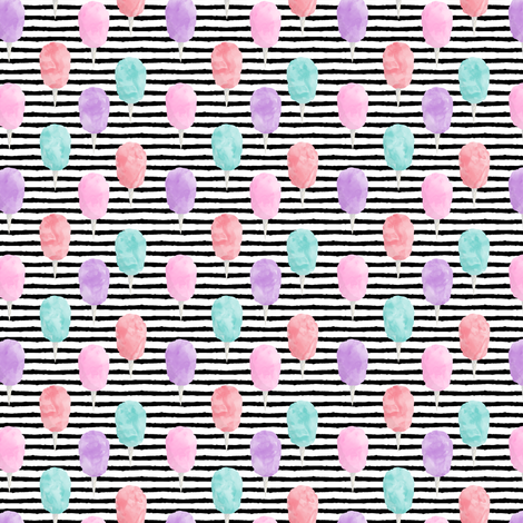 """(1"""" scale) cotton candy on stripes - carnival food C18BS fabric by littlearrowdesign on Spoonflower - custom fabric"""