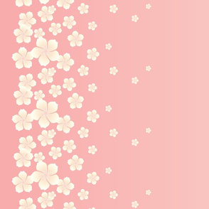 Ivory White Raining Blossoms on Blush Pink Ombre