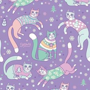 sweater kitties! in purple
