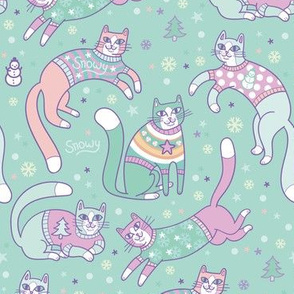 sweater kitties! in teal