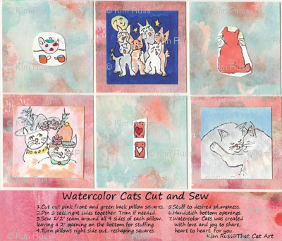 Watercolor Cats Cut and Sew