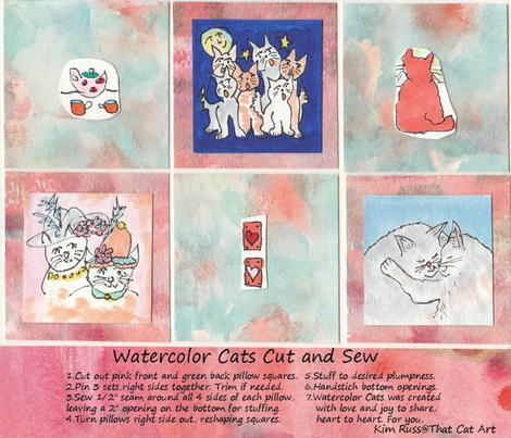 Watercolor Cats Cut and Sew fabric by kimruss@thatcatart on Spoonflower - custom fabric