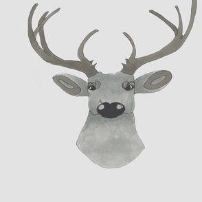 Taupe deer on gray