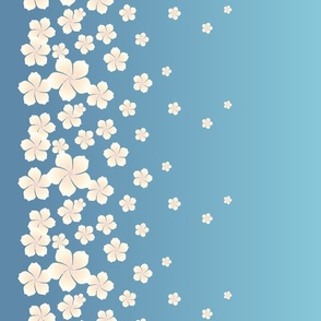 Ivory White Raining Blossoms on Sky Blue Ombre