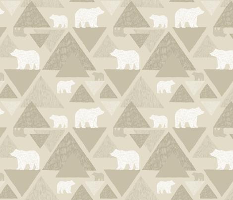 Mountain Bears - light beige fabric by jenuine_designs on Spoonflower - custom fabric