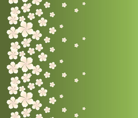 Ivory White Raining Blossoms on Green Ombre fabric by elizabethstiles on Spoonflower - custom fabric