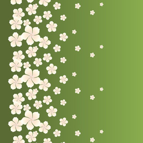Ivory White Raining Blossoms on Green Ombre