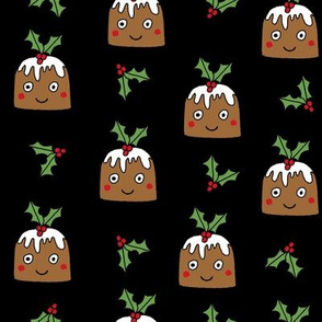 christmas pudding fabric // christmas fabric, cute christmas fabric, kawaii christmas fabric, andrea lauren fabric, cute design, kids christmas fabric, christmas pudding gift wrap, christmas wrapping paper - black