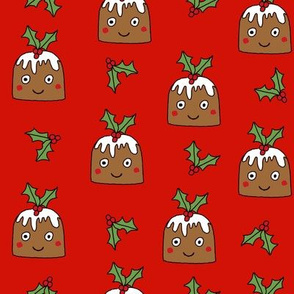 christmas pudding fabric // christmas fabric, cute christmas fabric, kawaii christmas fabric, andrea lauren fabric, cute design, kids christmas fabric, christmas pudding gift wrap, christmas wrapping paper - red
