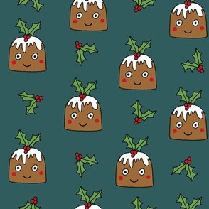 christmas pudding fabric // christmas fabric, cute christmas fabric, kawaii christmas fabric, andrea lauren fabric, cute design, kids christmas fabric, christmas pudding gift wrap, christmas wrapping paper -  green