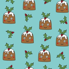 christmas pudding fabric // christmas fabric, cute christmas fabric, kawaii christmas fabric, andrea lauren fabric, cute design, kids christmas fabric, christmas pudding gift wrap, christmas wrapping paper -  blue
